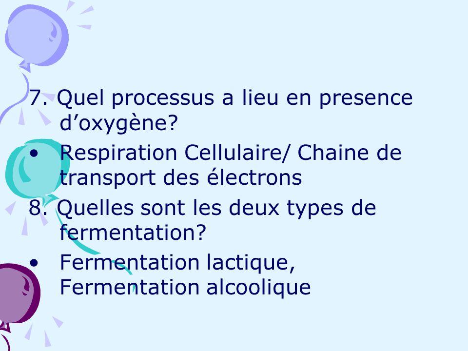 7. Quel processus a lieu en presence doxygène? Respiration Cellulaire/ Chaine de transport des électrons 8. Quelles sont les deux types de fermentatio