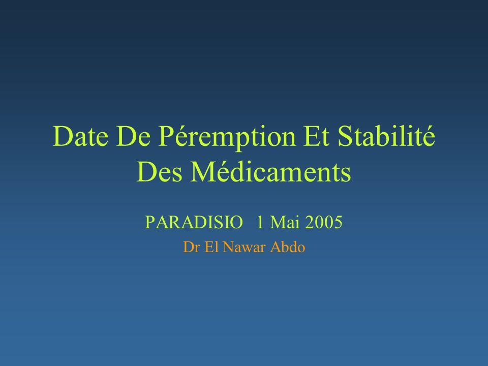 Date De Péremption Et Stabilité Des Médicaments Rarement abordé dans la littératureRarement abordé dans la littérature Réticence des compagnies pharmaceutiquesRéticence des compagnies pharmaceutiques à se préoccuper de la question.