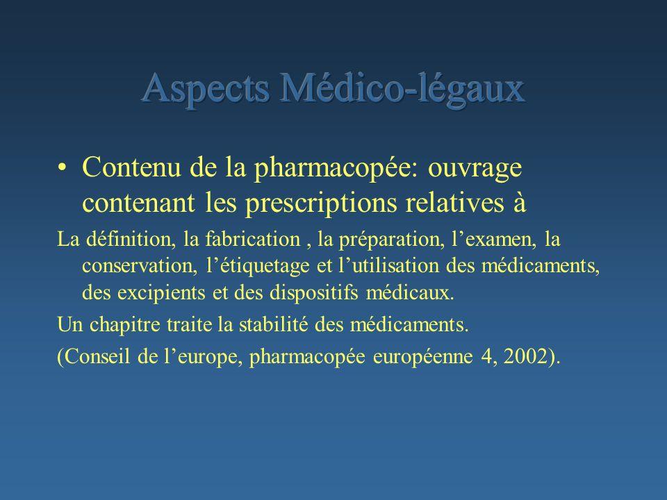Contenu de la pharmacopée: ouvrage contenant les prescriptions relatives à La définition, la fabrication, la préparation, lexamen, la conservation, lé
