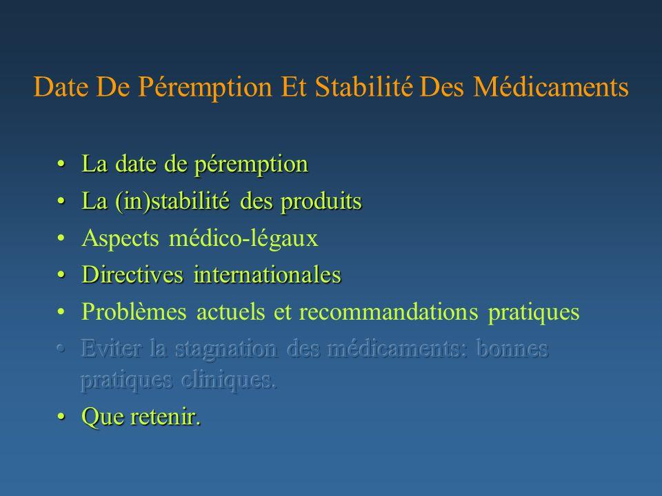 Date De Péremption Et Stabilité Des Médicaments
