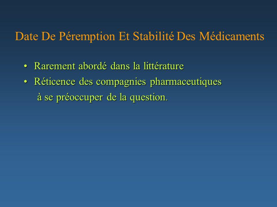 Date De Péremption Et Stabilité Des Médicaments Rarement abordé dans la littératureRarement abordé dans la littérature Réticence des compagnies pharma