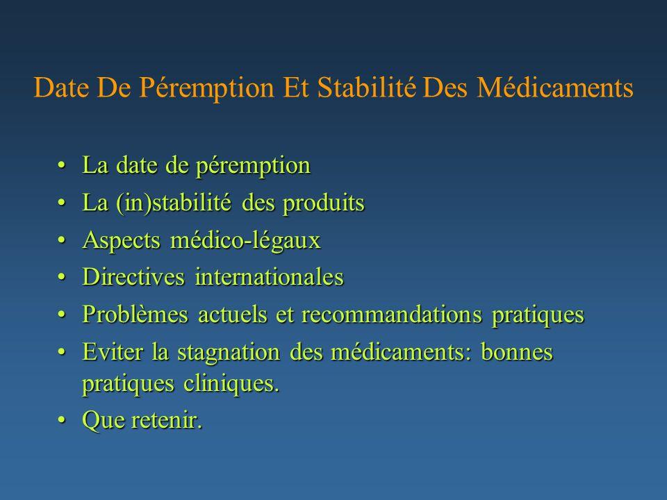 Date De Péremption Et Stabilité Des Médicaments La date de péremptionLa date de péremption La (in)stabilité des produitsLa (in)stabilité des produits