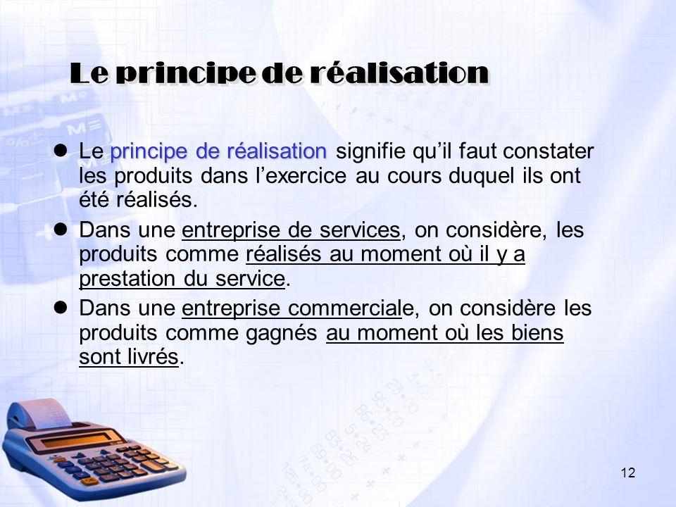 Le principe de réalisation principe de réalisation Le principe de réalisation signifie quil faut constater les produits dans lexercice au cours duquel