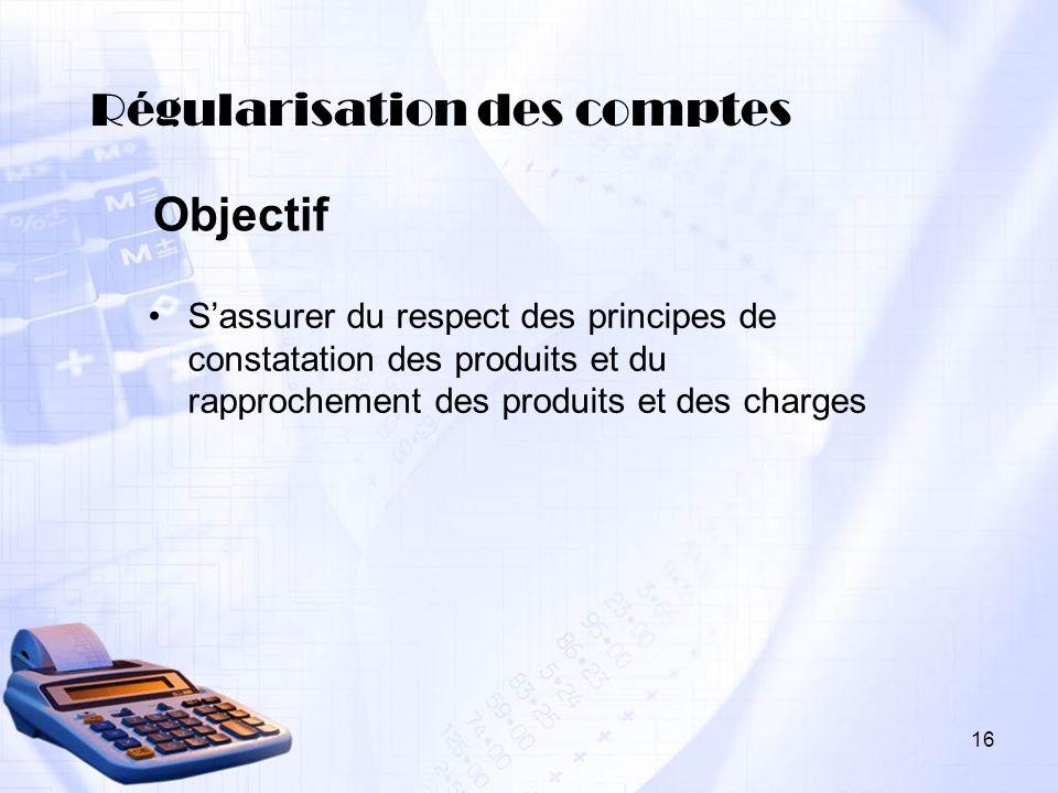 Régularisation des comptes Sassurer du respect des principes de constatation des produits et du rapprochement des produits et des charges Objectif 16