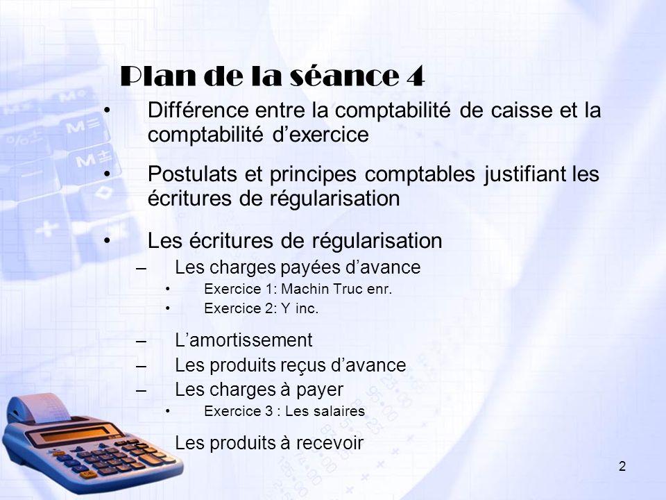Plan de la séance 4 Différence entre la comptabilité de caisse et la comptabilité dexercice Postulats et principes comptables justifiant les écritures