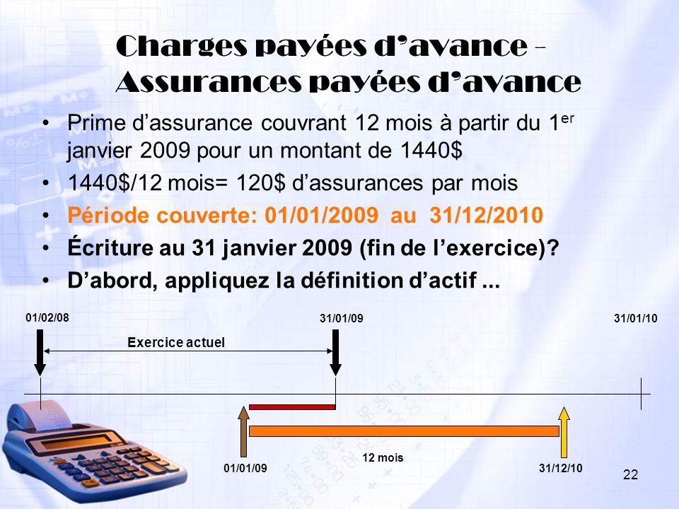 Charges payées davance - Assurances payées davance Prime dassurance couvrant 12 mois à partir du 1 er janvier 2009 pour un montant de 1440$ 1440$/12 m