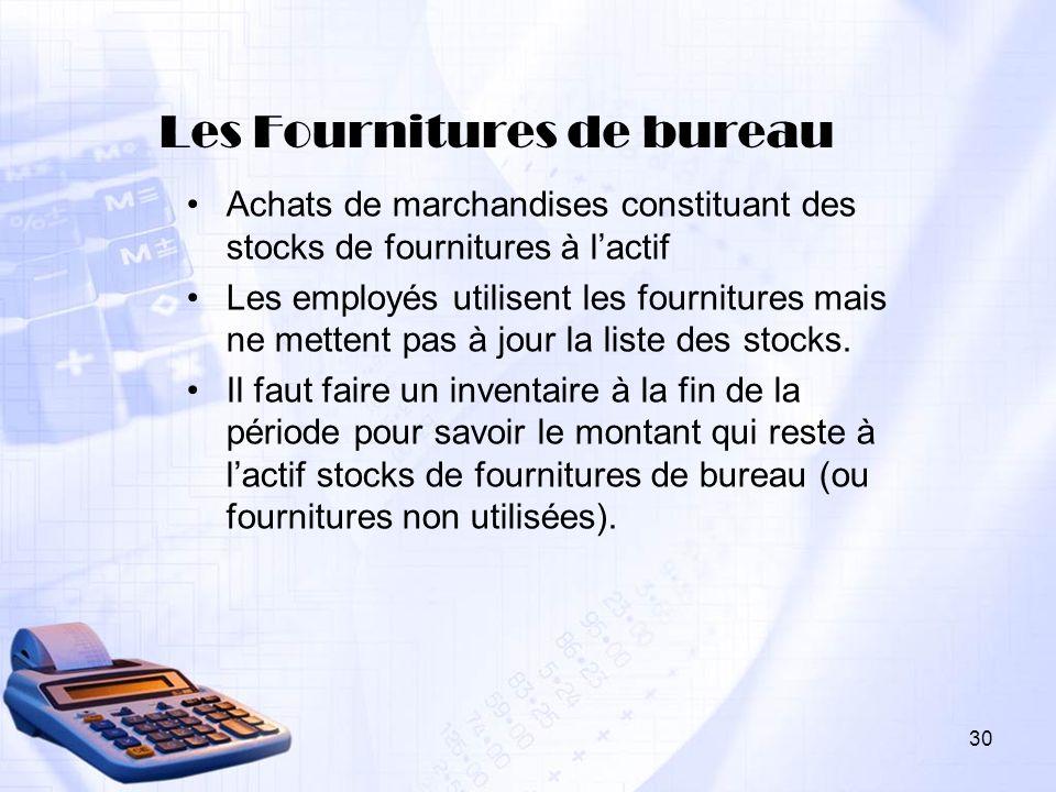 Les Fournitures de bureau Achats de marchandises constituant des stocks de fournitures à lactif Les employés utilisent les fournitures mais ne mettent