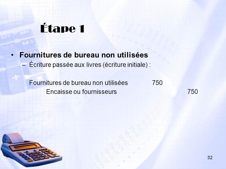 Étape 1 Fournitures de bureau non utilisées –Écriture passée aux livres (écriture initiale) : Fournitures de bureau non utilisées750 Encaisse ou fourn