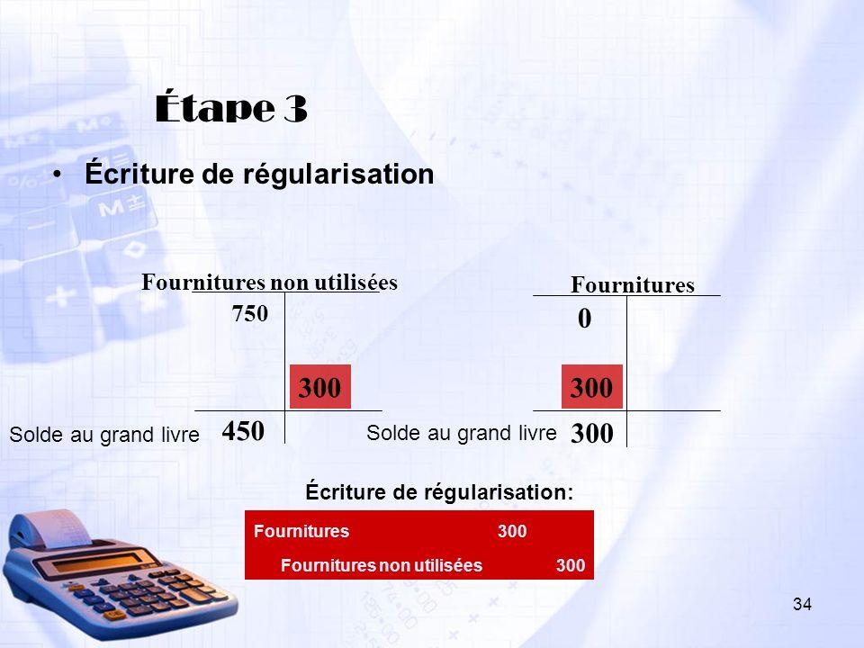 Étape 3 Écriture de régularisation 750 0 Fournitures non utilisées Fournitures 300 450 Fournitures300 Fournitures non utilisées300 Solde au grand livr