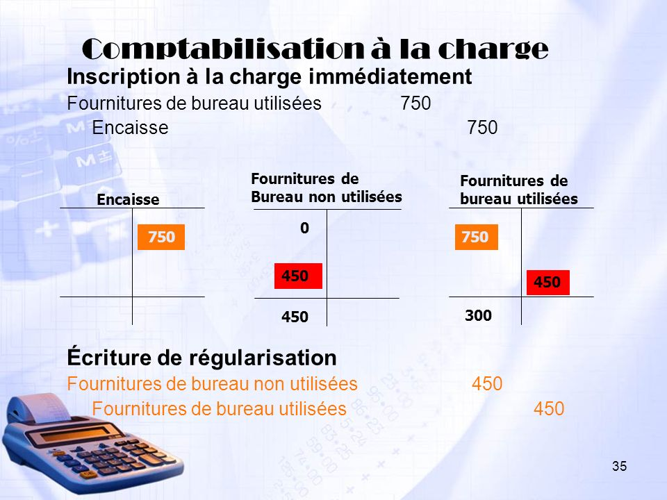 Comptabilisation à la charge Inscription à la charge immédiatement Fournitures de bureau utilisées750 Encaisse750 Écriture de régularisation Fournitur