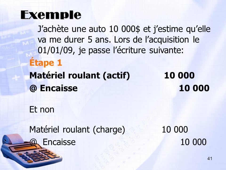Exemple Jachète une auto 10 000$ et jestime quelle va me durer 5 ans. Lors de lacquisition le 01/01/09, je passe lécriture suivante: Étape 1 Matériel