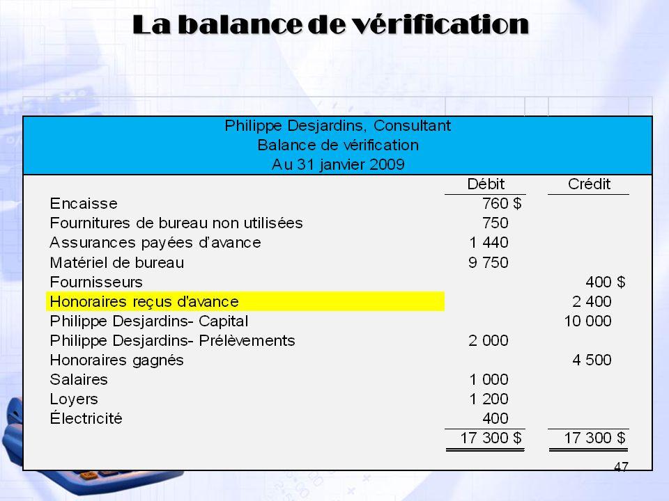 La balance de vérification 47