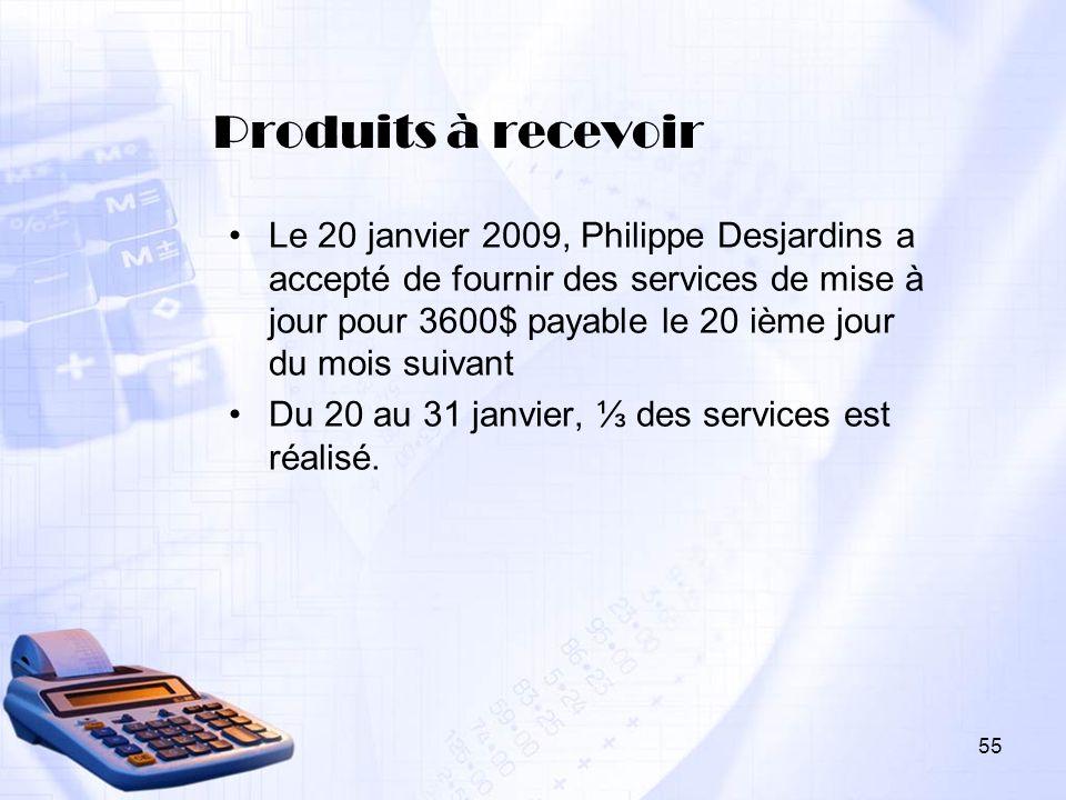 Produits à recevoir Le 20 janvier 2009, Philippe Desjardins a accepté de fournir des services de mise à jour pour 3600$ payable le 20 ième jour du moi