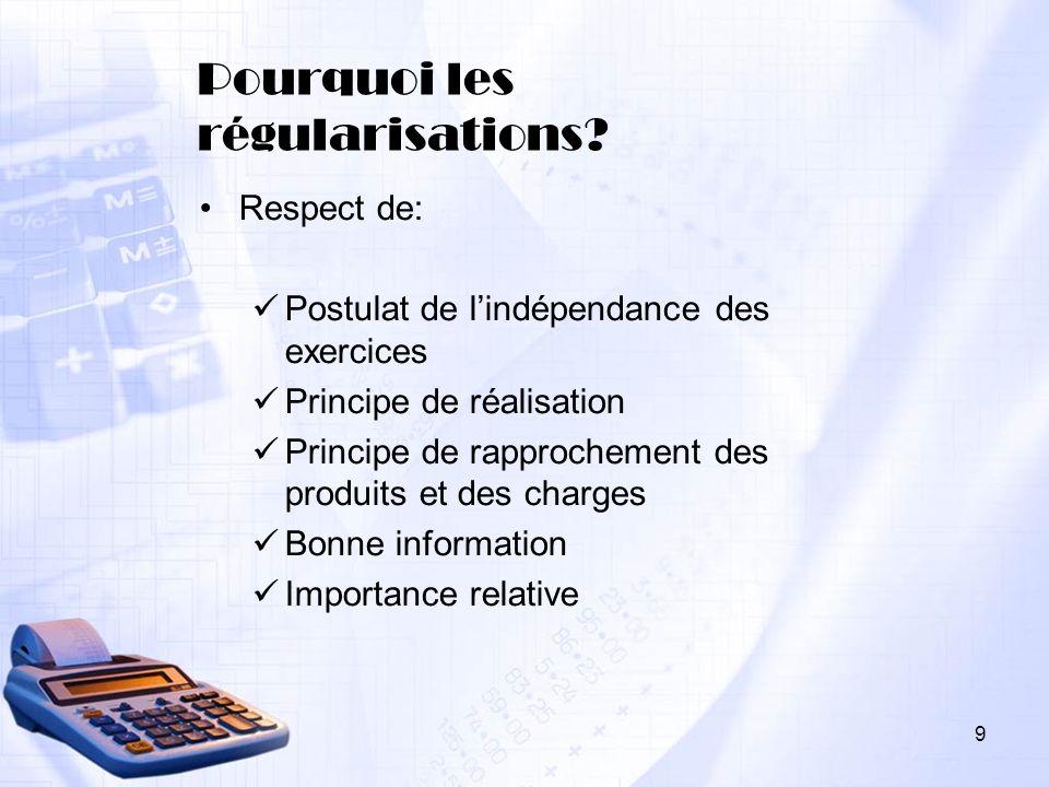 Pourquoi les régularisations? Respect de: Postulat de lindépendance des exercices Principe de réalisation Principe de rapprochement des produits et de