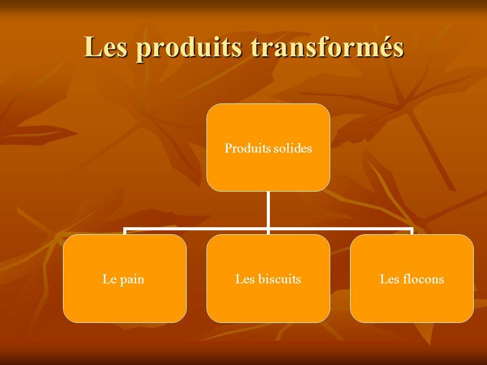 Les produits transformés Produits solides Le painLes biscuitsLes flocons