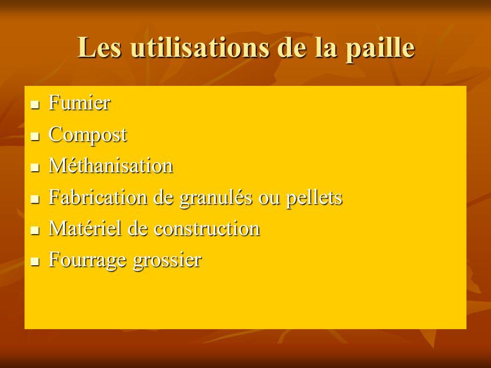 Les utilisations de la paille Fumier Fumier Compost Compost Méthanisation Méthanisation Fabrication de granulés ou pellets Fabrication de granulés ou