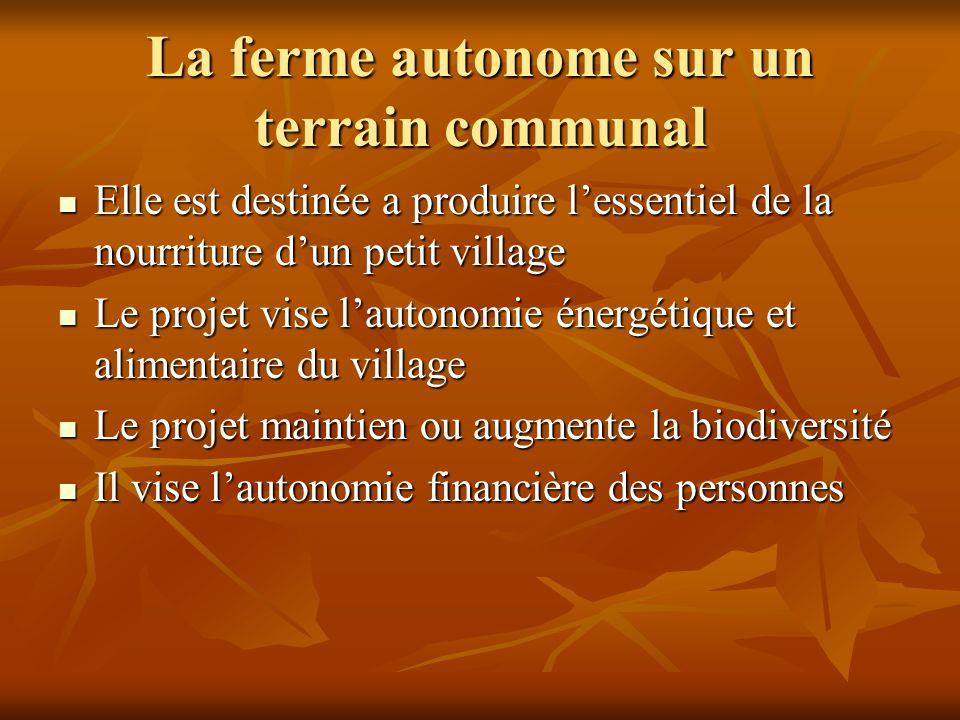 La ferme autonome sur un terrain communal Elle est destinée a produire lessentiel de la nourriture dun petit village Elle est destinée a produire less