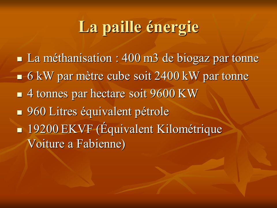 La paille énergie La méthanisation : 400 m3 de biogaz par tonne La méthanisation : 400 m3 de biogaz par tonne 6 kW par mètre cube soit 2400 kW par ton