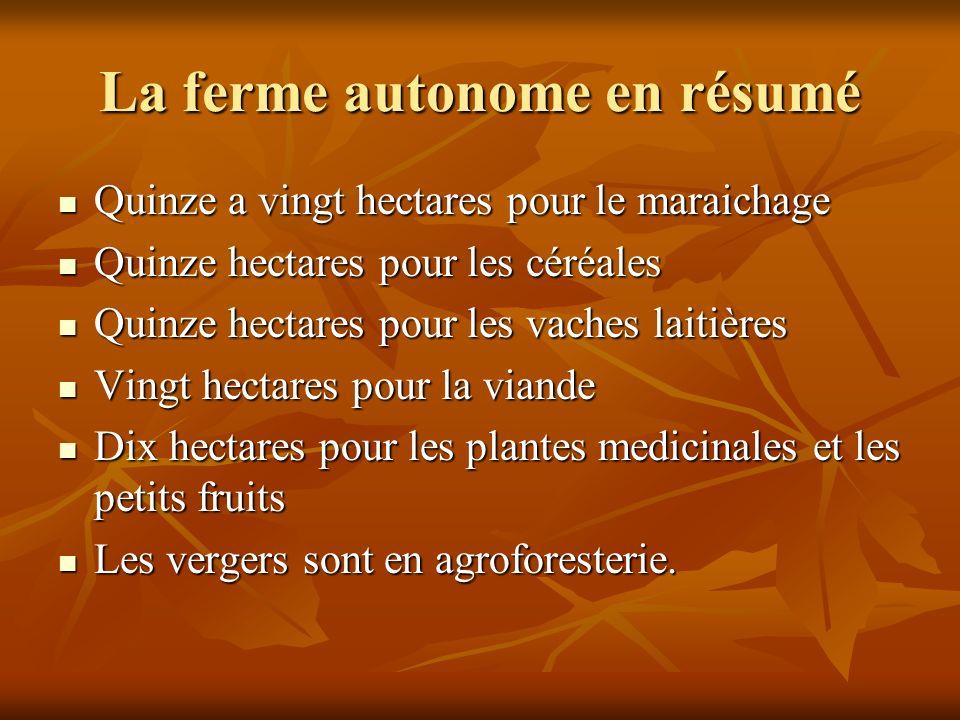 La ferme autonome en résumé Quinze a vingt hectares pour le maraichage Quinze a vingt hectares pour le maraichage Quinze hectares pour les céréales Qu