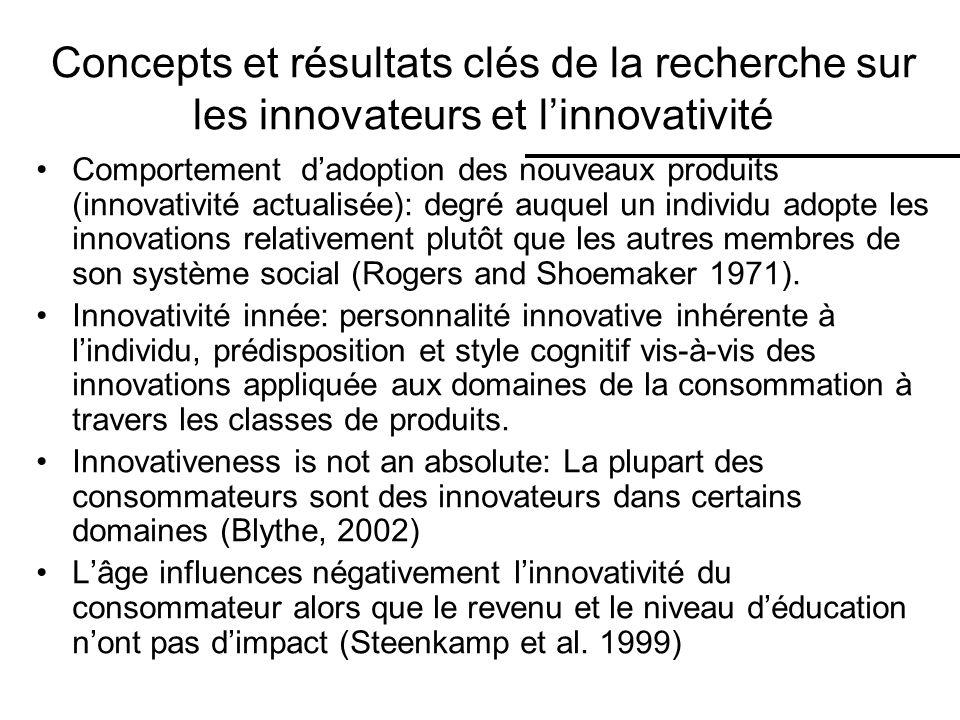 Concepts et résultats clés de la recherche sur les innovateurs et linnovativité Comportement dadoption des nouveaux produits (innovativité actualisée): degré auquel un individu adopte les innovations relativement plutôt que les autres membres de son système social (Rogers and Shoemaker 1971).