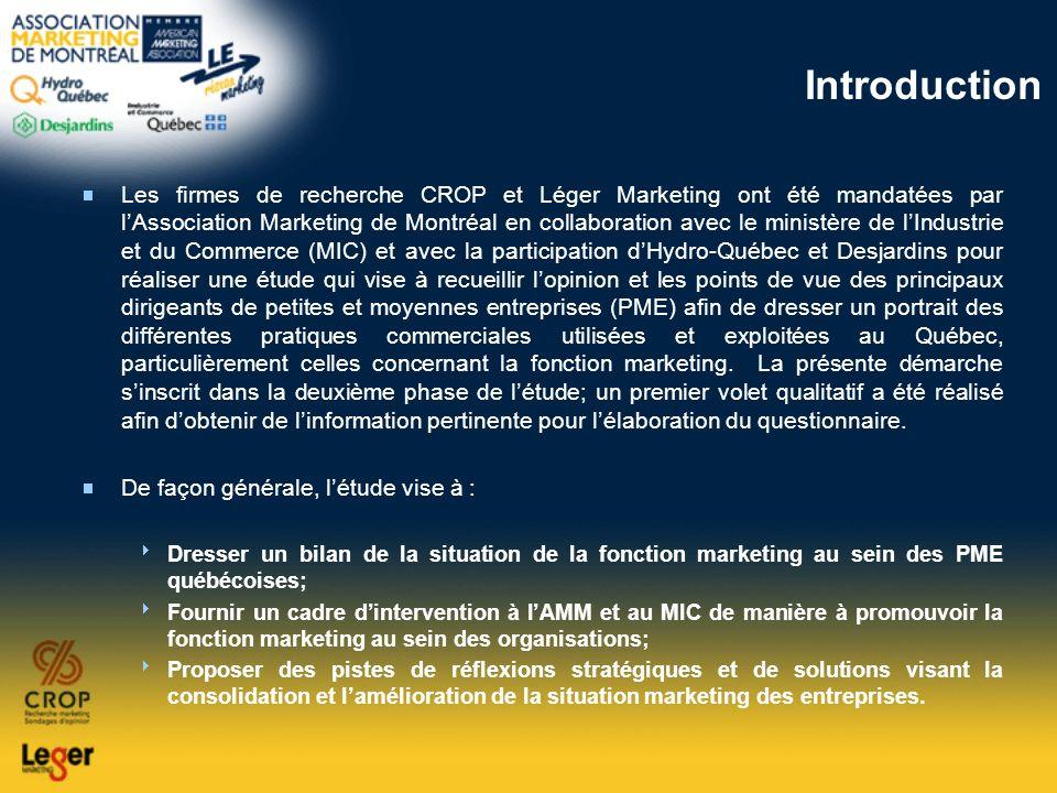Introduction Les firmes de recherche CROP et Léger Marketing ont été mandatées par lAssociation Marketing de Montréal en collaboration avec le ministè