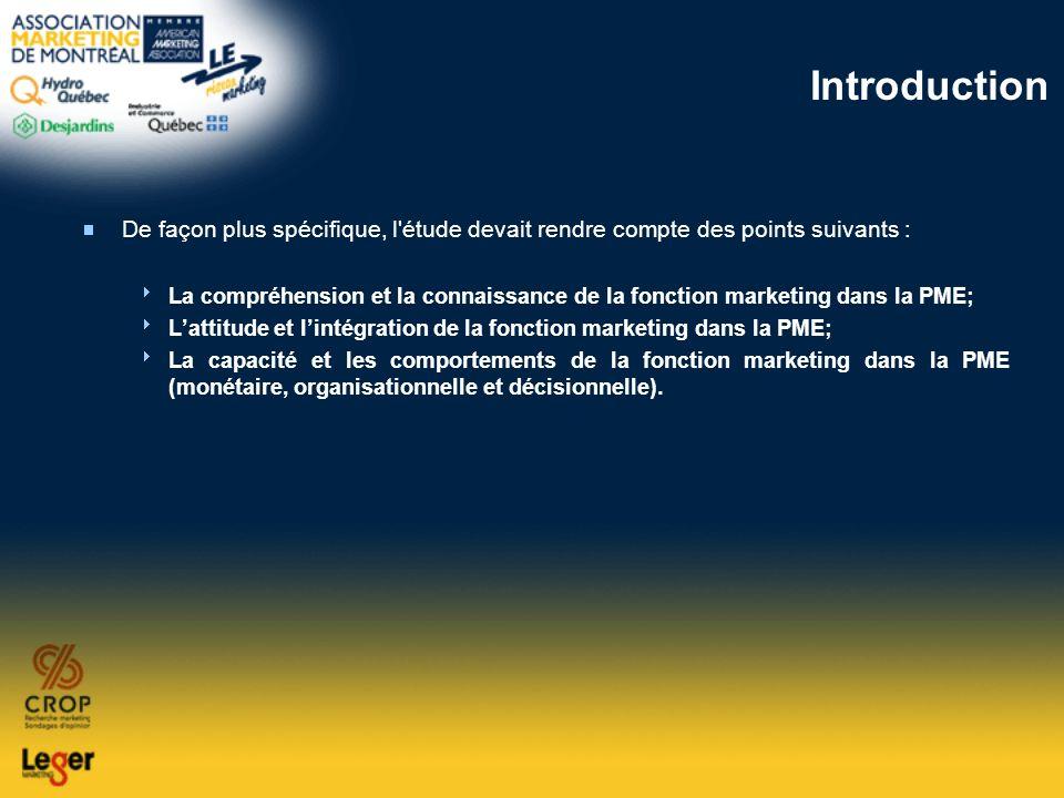 Introduction De façon plus spécifique, l'étude devait rendre compte des points suivants : La compréhension et la connaissance de la fonction marketing