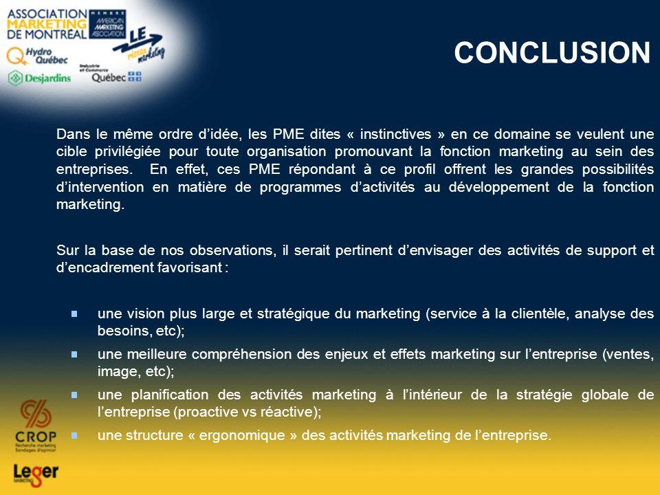 CONCLUSION Dans le même ordre didée, les PME dites « instinctives » en ce domaine se veulent une cible privilégiée pour toute organisation promouvant