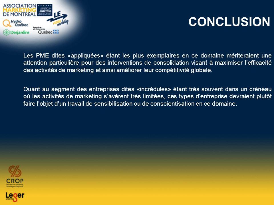 CONCLUSION Les PME dites «appliquées» étant les plus exemplaires en ce domaine mériteraient une attention particulière pour des interventions de conso