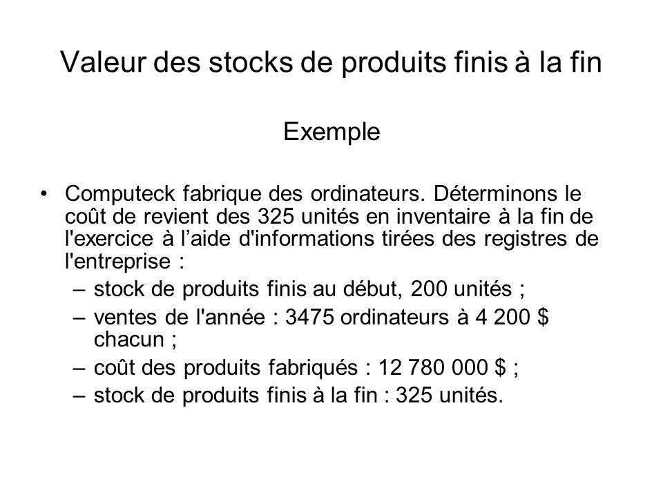 Calcul de la valeur des stocks à la fin Stock de mat. prem. à la fin –Dénombrement physique (compter le nombre) –50 planches de 2x4 pouces –Identifier