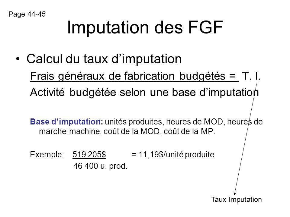 Imputation des FGF Le comportement des FGF Les frais généraux de fabrication fixes naugmentent pas ou ne diminuent pas en fonction du volume de produc