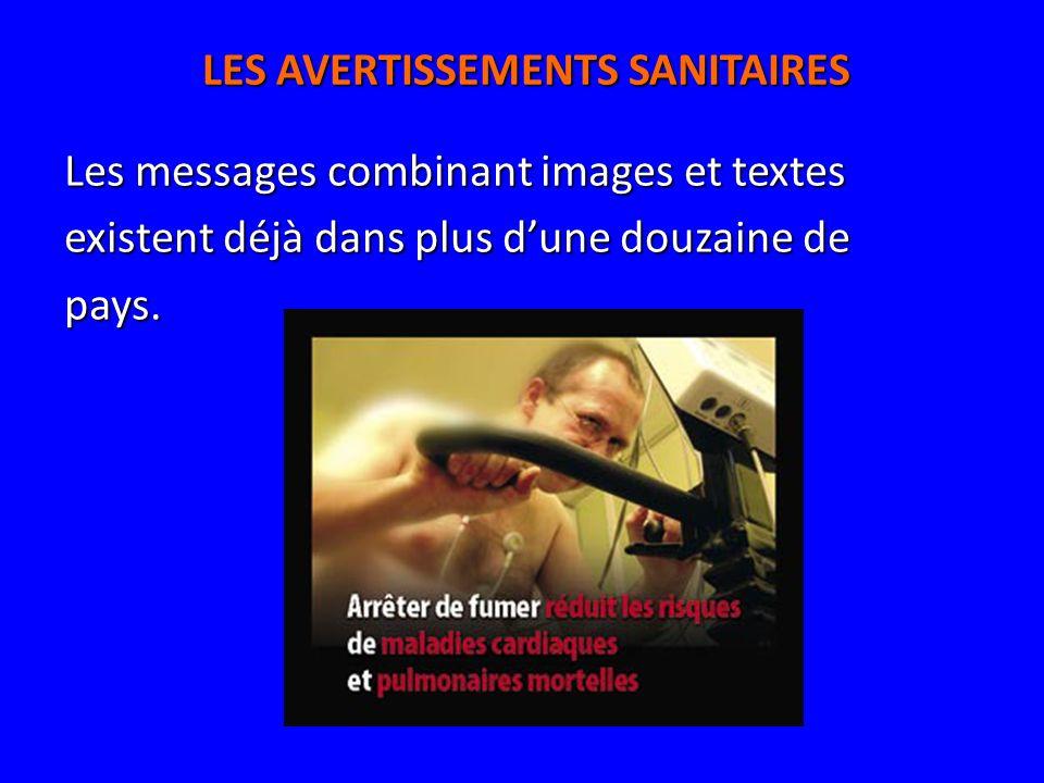 LES AVERTISSEMENTS SANITAIRES Les messages combinant images et textes existent déjà dans plus dune douzaine de pays.