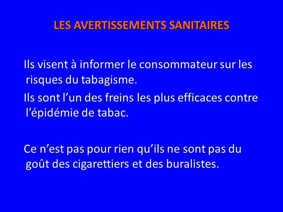 LES AVERTISSEMENTS SANITAIRES Ils visent à informer le consommateur sur les risques du tabagisme. Ils sont lun des freins les plus efficaces contre lé