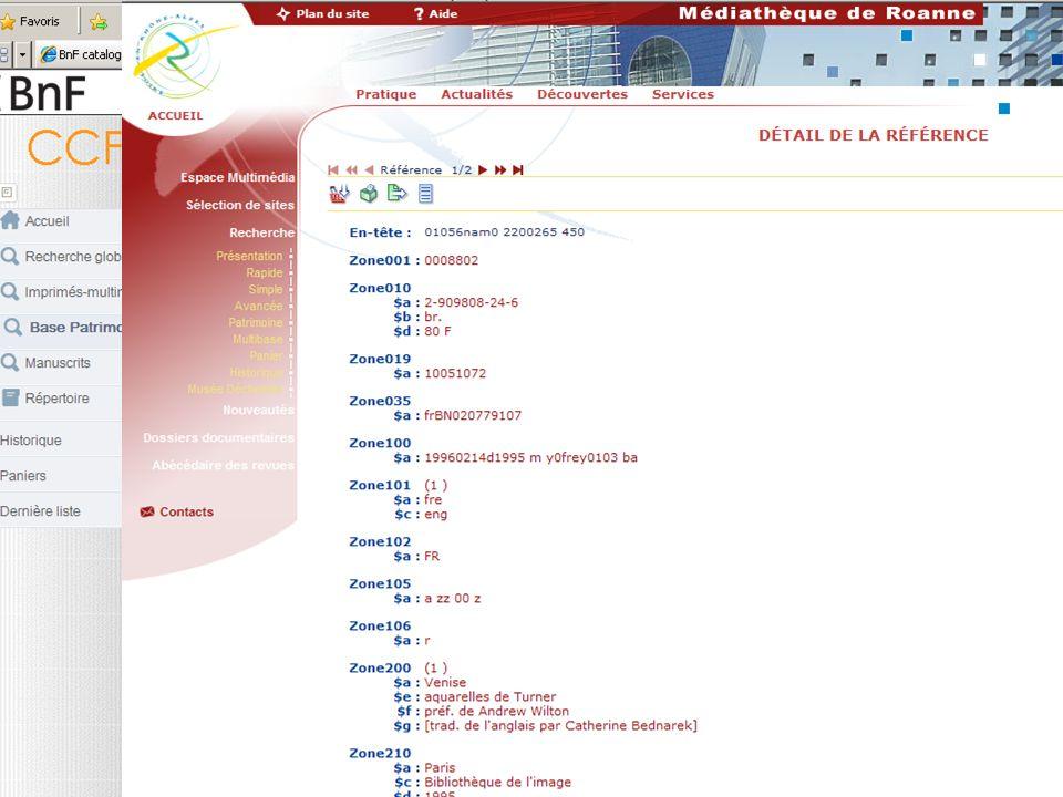 LUNIMARC des produits BnF : Objectifs de la conversion –respecter la structure du Manuel UNIMARC défini au niveau international par l IFLA, –mais sans perdre la richesse des données saisies à la source en INTERMARC cf chapitre 3 du format UNIMARC B des produits sur les traitements des $9 pour la gestion du niveau hiérarchique des sous-notices analytiques (valeur a) ; c est le cas le plus fréquent.