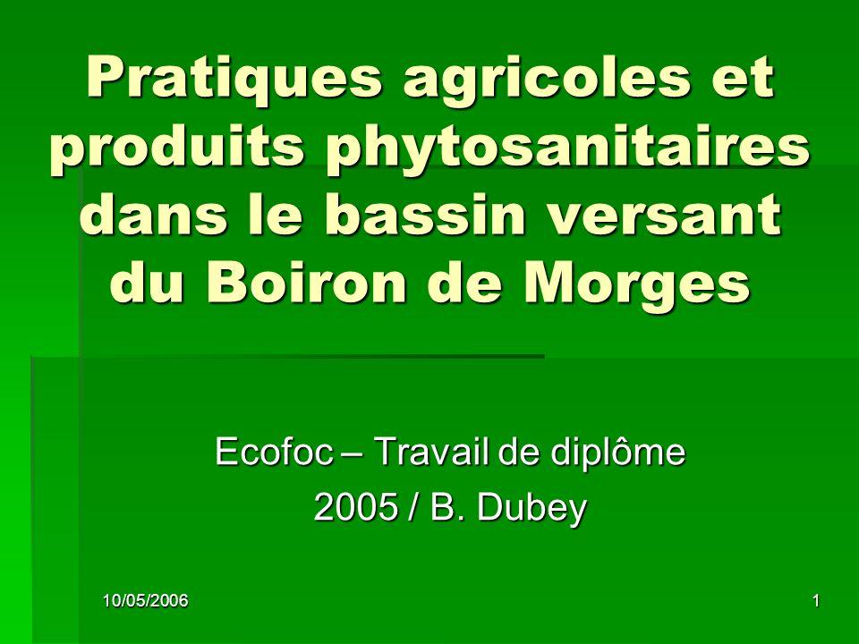 10/05/20061 Pratiques agricoles et produits phytosanitaires dans le bassin versant du Boiron de Morges Ecofoc – Travail de diplôme 2005 / B.
