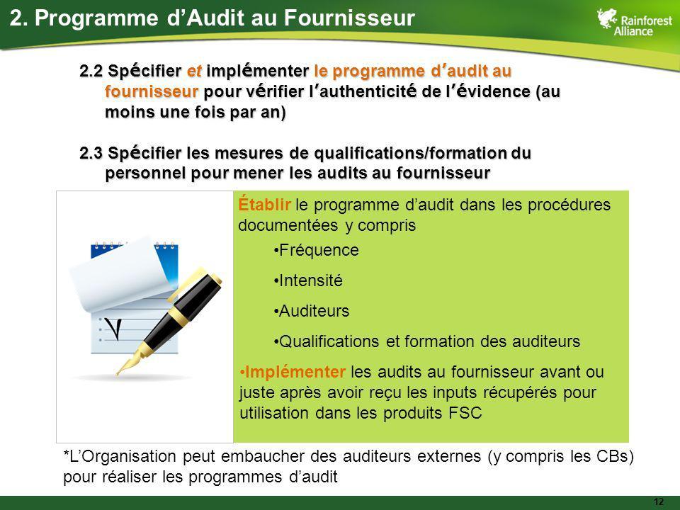 12 2.2 Sp é cifier et impl é menter le programme d audit au fournisseur pour v é rifier l authenticit é de l é vidence (au moins une fois par an) 2.3