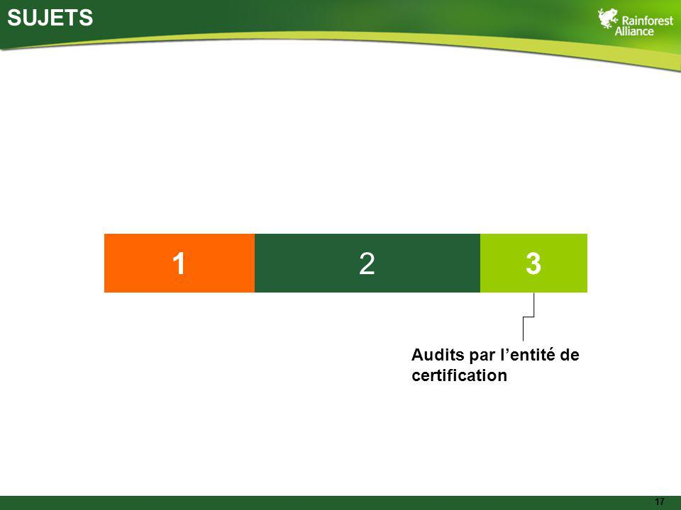 17 SUJETS 132 Audits par lentité de certification
