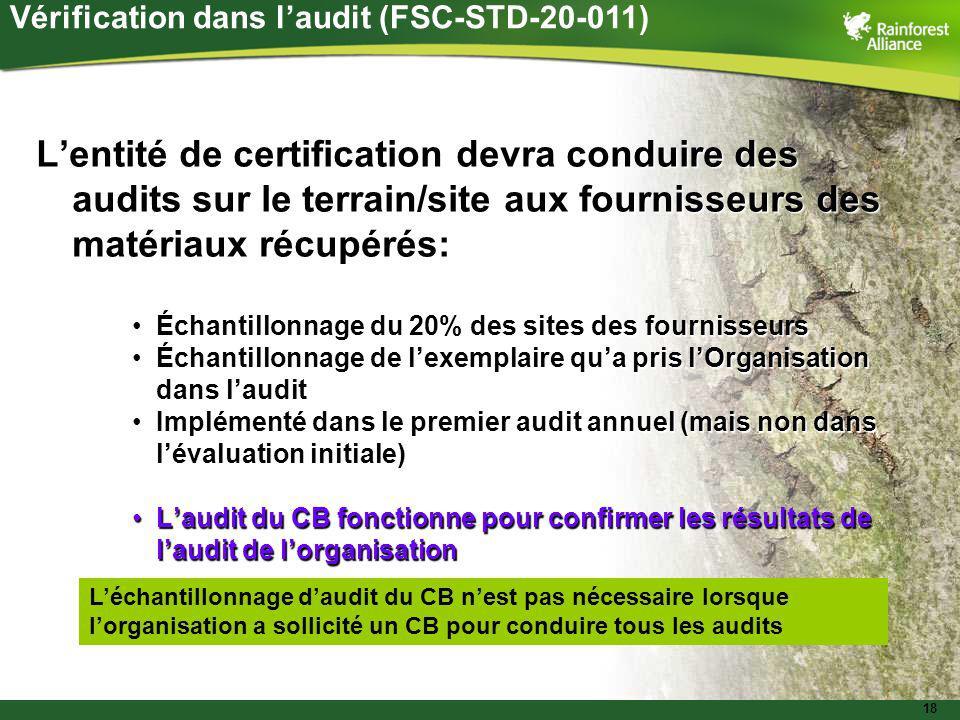 18 Lentité de certification devra conduire des audits sur le terrain/site aux fournisseurs des matériaux récupérés: Échantillonnage du 20% des sites d