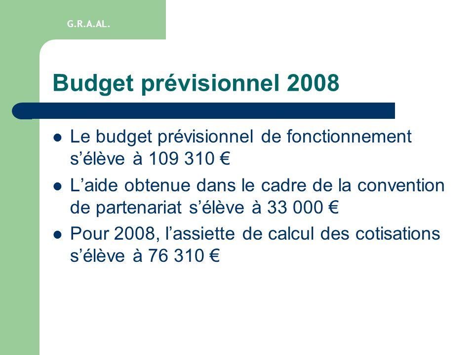 Budget prévisionnel 2008 Le budget prévisionnel de fonctionnement sélève à 109 310 Laide obtenue dans le cadre de la convention de partenariat sélève