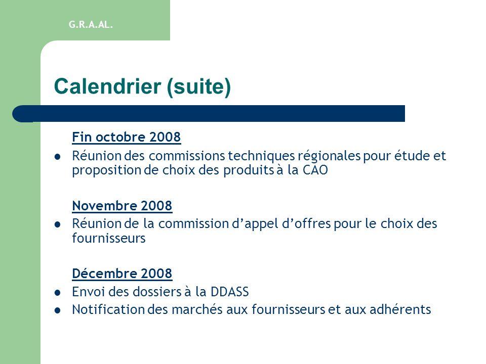 Calendrier (suite) Fin octobre 2008 Réunion des commissions techniques régionales pour étude et proposition de choix des produits à la CAO Novembre 20