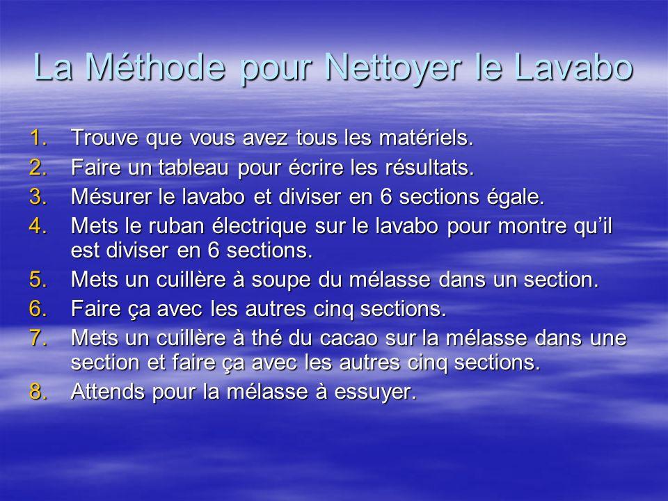 La Méthode pour Nettoyer le Lavabo 1.Trouve que vous avez tous les matériels. 2.Faire un tableau pour écrire les résultats. 3.Mésurer le lavabo et div
