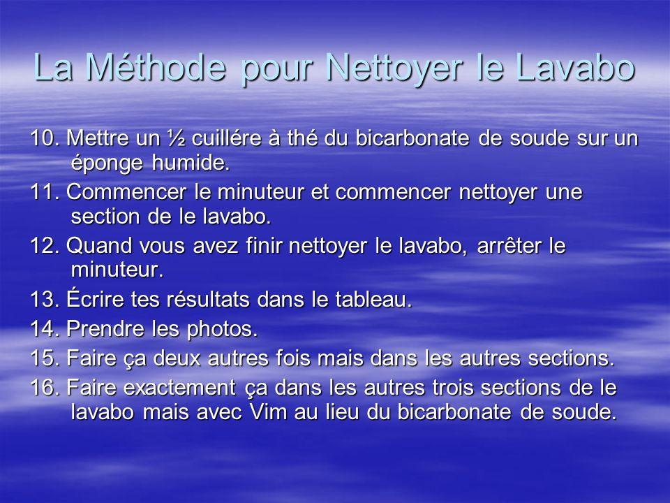 La Méthode pour Nettoyer le Lavabo 10. Mettre un ½ cuillére à thé du bicarbonate de soude sur un éponge humide. 11. Commencer le minuteur et commencer