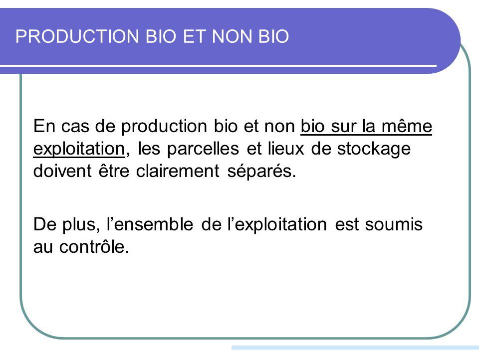 PRODUCTION BIO ET NON BIO En cas de production bio et non bio sur la même exploitation, les parcelles et lieux de stockage doivent être clairement séparés.