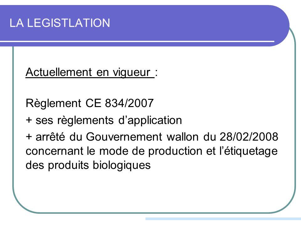 LA LEGISTLATION Actuellement en vigueur : Règlement CE 834/2007 + ses règlements dapplication + arrêté du Gouvernement wallon du 28/02/2008 concernant le mode de production et létiquetage des produits biologiques