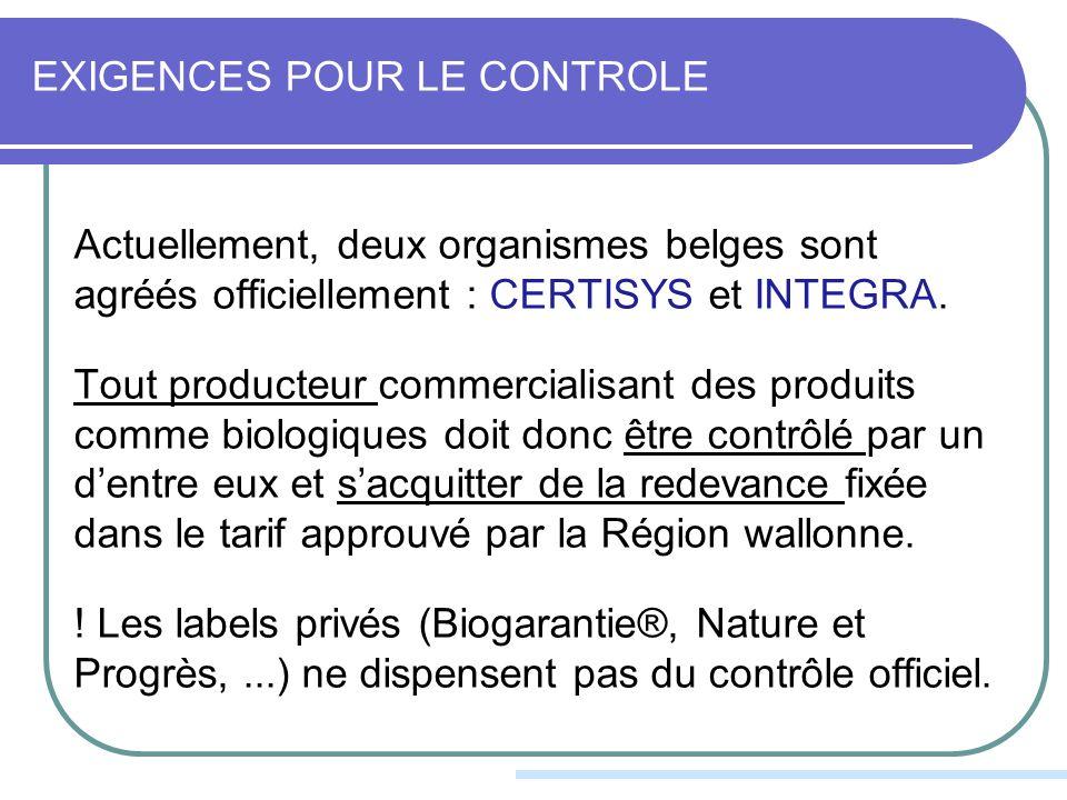 EXIGENCES POUR LE CONTROLE Actuellement, deux organismes belges sont agréés officiellement : CERTISYS et INTEGRA.