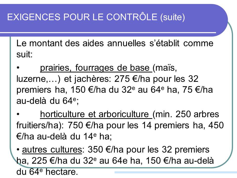 EXIGENCES POUR LE CONTRÔLE (suite) Le montant des aides annuelles sétablit comme suit: prairies, fourrages de base (maïs, luzerne,…) et jachères: 275 /ha pour les 32 premiers ha, 150 /ha du 32 e au 64 e ha, 75 /ha au-delà du 64 e ; horticulture et arboriculture (min.