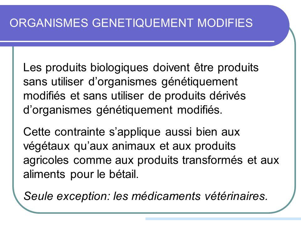 ORGANISMES GENETIQUEMENT MODIFIES Les produits biologiques doivent être produits sans utiliser dorganismes génétiquement modifiés et sans utiliser de produits dérivés dorganismes génétiquement modifiés.