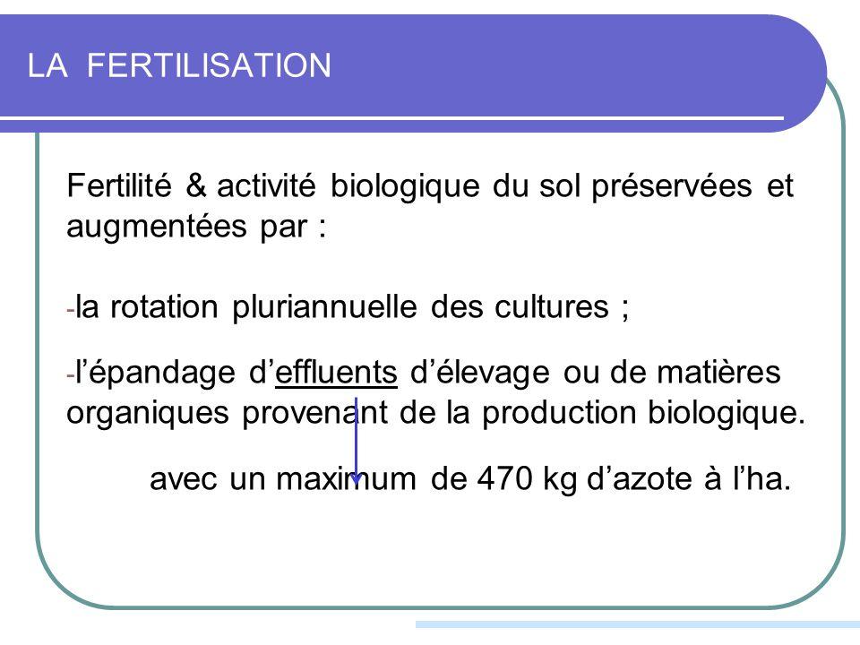 LA FERTILISATION Fertilité & activité biologique du sol préservées et augmentées par : - la rotation pluriannuelle des cultures ; - lépandage deffluents délevage ou de matières organiques provenant de la production biologique.