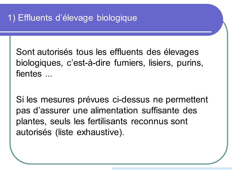 1) Effluents délevage biologique Sont autorisés tous les effluents des élevages biologiques, cest-à-dire fumiers, lisiers, purins, fientes...
