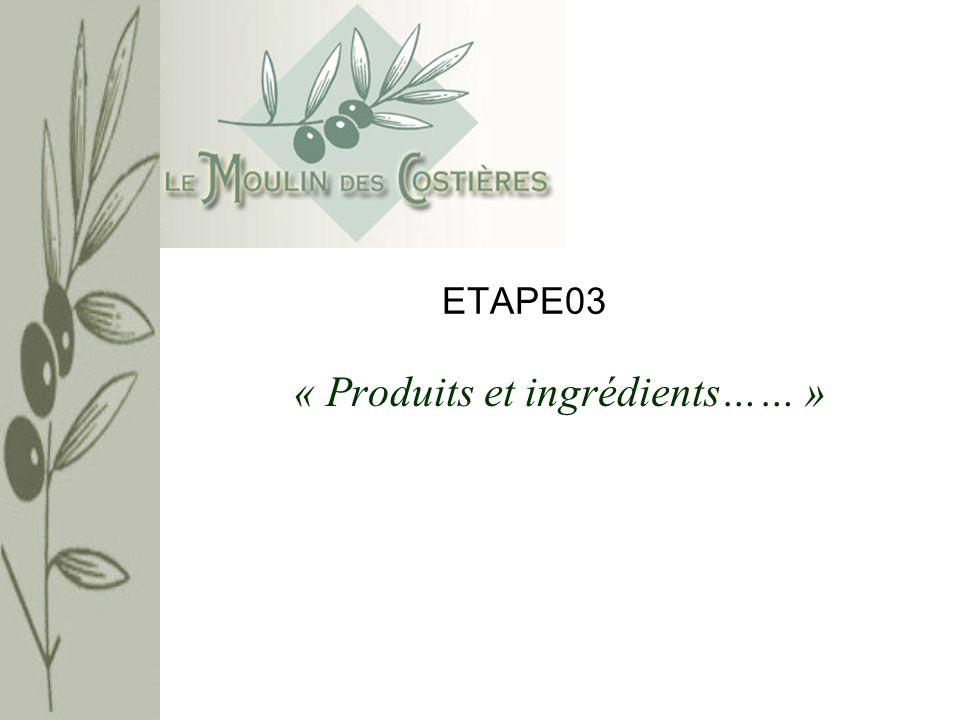 « Produits et ingrédients… » Rappel : Dans létape 2, nous avons vu une organisation plus complète des données relatives aux articles du Moulin des Costières.