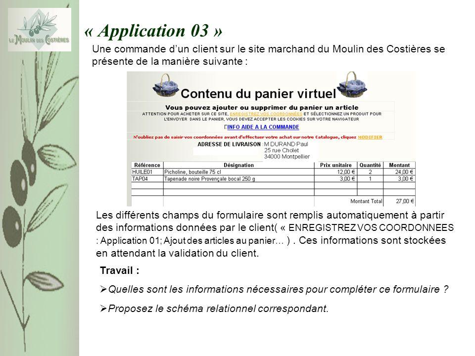 « Application 03 » Une commande dun client sur le site marchand du Moulin des Costières se présente de la manière suivante : Travail : Quelles sont les informations nécessaires pour compléter ce formulaire .